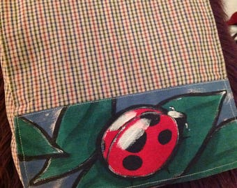 Unique Vintage 90s/Sac Messager bandoulière Peint Main/Messenger Crossbody Handpainted Bag/Sac OOAK/Coton Carreaux Peint Coccinelle
