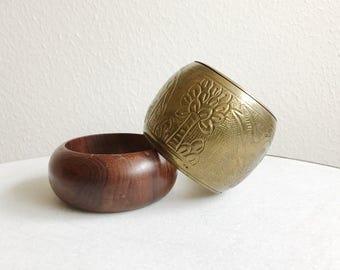 vintage bangles / wood & brass bracelets / 70s Basics bangles