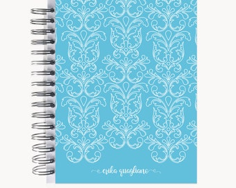 Address and/or Password Book – Personalized   Spiral   Business   Contacts   Gifts   Dotted Damask Outline