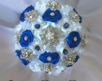Royal Blue Brooch Bouquet, Rush Orders Welcome, Many sizes starting at 120.00