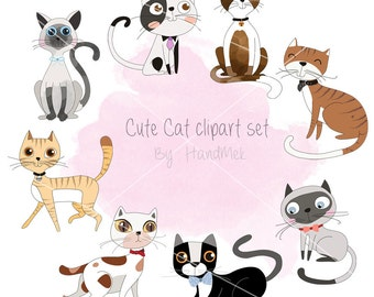 Cute Cat clipart ,Kitty clipart set , instant download PNG file - 300 dpi