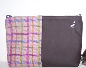 Harris Tweed  and leather bag, pink tweed, pink tartan. Shoulder bag, handbag.  Gift for her, birthday gift