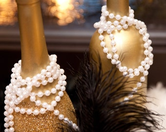 Art Deco - Roaring Twenties - Vintage - Great Gatsby Wedding - 5 Gold Glittered Wine Bottles with 30 Pearl Necklaces