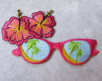Tropical -Hawaiian Hibiscus & Glasses  - Application - Embroidered Iron On Applique Patch