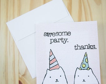"""CARD: """"Party Cats"""" featuring two cats decked out in party hats and havin' a good time"""