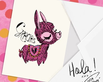 burro gracias Blank Greeting Card artist signed
