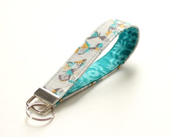 Teal Butterfly Keychain, Teal and Gray Crosshatch Butterfly Key Fob, Butterfly Wristlet Strap, Key Strap - PREORDER