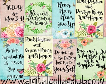 Positive Affirmations Quotes Digital Collage Sheet Digital Images for Jewelry Holders, Tags, Card Making, ATC Cards, Scrapbooking