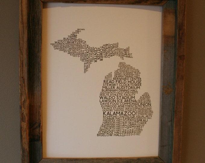 Kalamazoo Michigan - Western Michigan University - College Town Word Map (White & Brown) - Unframed