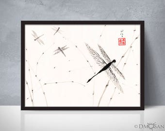 Dragonflies - sumi-e watercolor painting 5x7 (Print)