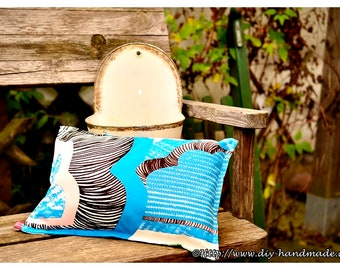 """Cushion for inside and outside, filled cushion, canvas, 38x26 cm, 15 """"x10"""","""