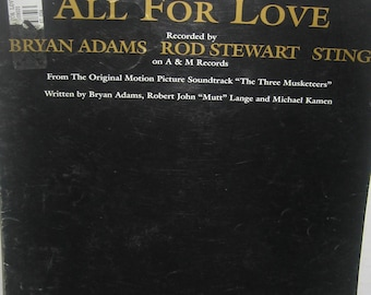 All for Love Rod Stewart Sting Bryan Adams Original Sheet Music 1993 from Three Musketeers
