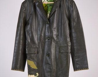 Leather Jacket Trench 70 ' Marlboro style, Desigual style handmade-cod. D36
