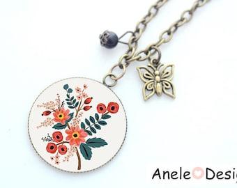 Collar - Slave - Orange leaf flowers Folk pattern red cabochon