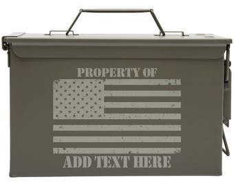 USA American Flag Custom Engraved 30/50 Cal Ammo Can Personalized Dad Gift Cool Guy Gifts Father's Day Gift Grandpa Gift Groomsmen Hunter
