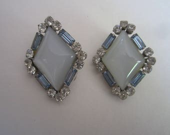 Vintage Coro Earrings Moonstone with Pale Blue Baquette and Rhinestones