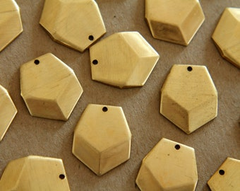 6 pc. Raw Brass  Geometric Faceted Heptagon Charms : 20mm by 17mm - made in USA | RB-140