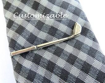 Golf Tie Clip, Golf Club Tie Bar, Golf Driver Tie Bar, Silver or Brass, Personalized