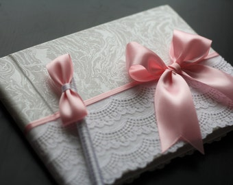 Pink Baby Shower Sign in Book with Pen \ pink wedding guest book, Pink memory book, Shower Guest Book \ pink Guest book with pen