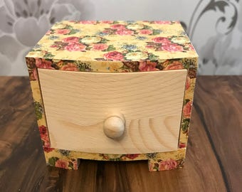 Mini chest, single drawer, hand painted and decorated