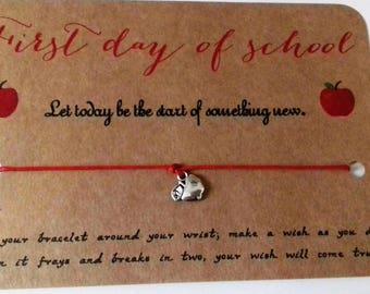 Starting school gift,student gift, teachers gift, new school gift, first day of school, wish bracelet,  good luck gift,  good luck bracelet.