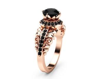 Black Diamond Vintage Engagement Ring 14K Rose Gold Halo Engagement Ring