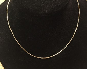 """Sterling Silver 18"""" Thick Box Chain Necklace, 925 Italy, Thick Box Chain, 1 mm  boxchain"""