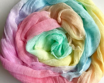 Hand painted rainbow muslin length