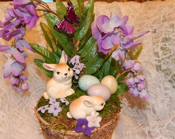 Wisteria Lane Easter Handmade Easter Decor Spring Decor Purple Floral Arrangement Bunny Rabbit Figurines and Eggs in Bark Basket