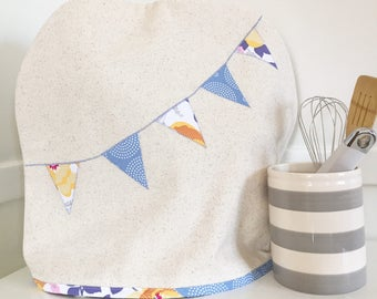 Stand Mixer Cover with Floral and Dot Banner in Slate