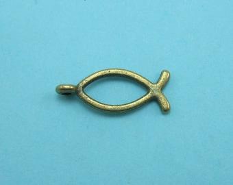 12 Christian Fish Charms Bronze tone ichthys Jesus fish (S174-cnt)