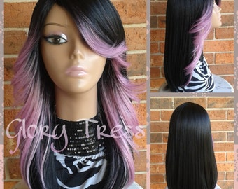 ON SALE // Straight Ombre Full Wig,  Pastel Pink Mermaid Wig, Feathered / Layered wig, // PRECIOUS