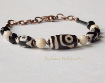 Tibetan Dzi Agate Bracelet with Cream Riverstone, Black and White Stone, Copper, and Glass Beads, Geometric Modern Bohemian Tribal Jewelry