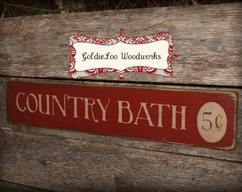Country Bath, Typography Word Art, Subway Art, Primitive Sign