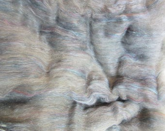 "2.3 oz. Alpaca Handcrafted Carded Batt - All Natural Med. Silver Grey Alpaca Blended w/Merino/Tussah Silk Blend and Angelina for ""Sparkle"""