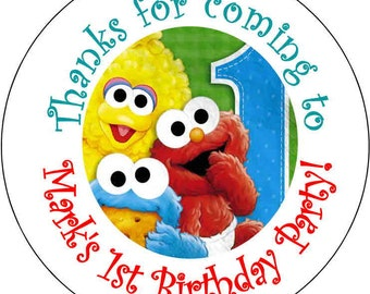 12 printed Baby Sesame Street Elmo Cookie Monster 1st Theme Birthday Party Stickers 2.5 inch Round Personalized kids