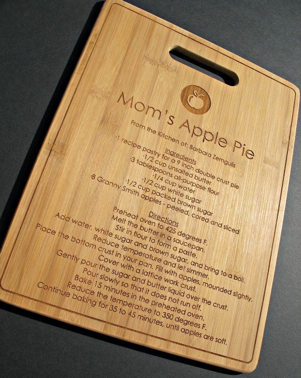 Family Recipe - Custom Engraved Bamboo Cutting Board -8.5 x 11- Personalized