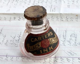 Antique Carter's Black Ink Bottle Vintage Advertising with Cork Lid