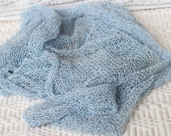 Light Denim Knitted wrap, new born knitted blue wrap