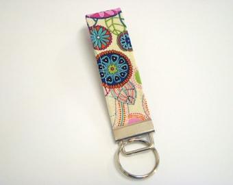 Wristlet Key Fob / Key Chain - Multi Color Circles