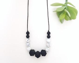 Monochrome Chloe Silicone Nursing Necklace, Silicone Teething Necklace, Breastfeeding Necklace, Chewelry