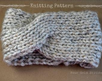 Knitted Ribbed Turban Headband Pattern, EarWarmer, Easy/Beginner, Chunky Knit