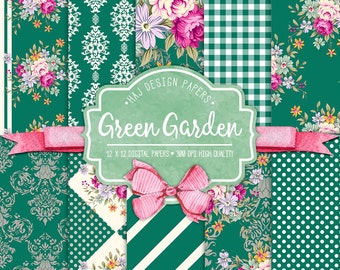 Flower digital paper; Green Garden, green digital paper with pink roses, fuchsia flowers, green and fuchsia digital paper, shabby chic