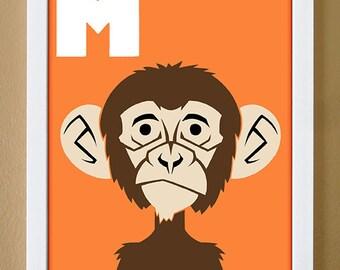 alphabet letter M, monkey, custom colors, children's letter print, nursery art, undersea nursery, 4X6, 5X7, 8X10