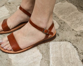 Strappy Sandals, Black Leather Sandals, Summer Flats, Women Shoes, Leather Flats, Greek Sandals