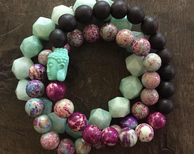 Black Sandalwood, Amazonite, Jasper + Teal Buddha | Spiritual Junkies | Stack of 3 | Mala Bracelet | Yoga + Meditation | 8 + 10 mm