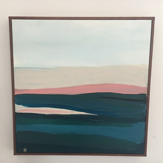 Modern Abstract Original Painting Pink Color Waves