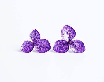 real hydrangea earrings,sterling silver earring studs,real flower earrings,girlfriend earrings