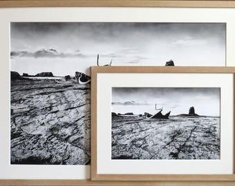 Saltwick Bay print, charcoal drawing, landscape art, seascape art, shipwreck drawing, coast art, black and white, pencil drawing, ship print