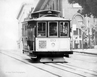 San Francisco Print, Black and White, Wall Art, Photography Print, Cable Car, Streetcar Picture, California Photo, Wall Decor, 8 x 10 Print